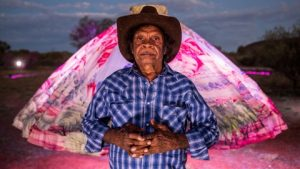 Parrtjima, light festival, Alice Springs, Australia - Opening Night Friday 23nd September 2016. Pictured is artist Hubert Pareroultja. Photo - James Horan for AGB Events
