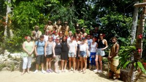 Travel agents at Ekasup Cultural Village on Vanuatu's island of Efate