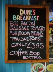 Top value breakfast in Soho, London. That price is just AUD 6.90