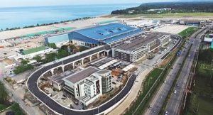 Aerial view of new passenger terminal at Phuket Airport