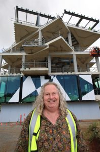 Chester Osborn with the cube being built at d'Arenberg