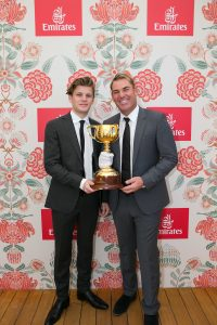 Shane Warne and son Jackson at the Emirates Marquee, Derby Day 2016