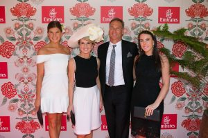The Hon. Julie Bishop MP, David Panton and children Sally & Laura Panton at the Emirates Marquee, Derby Day 2016