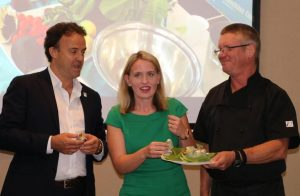 Simon Latchford, Minister Kate Jones and Peter Wolfe