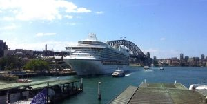 Emerald Princess in Sydney Harbour yesterday