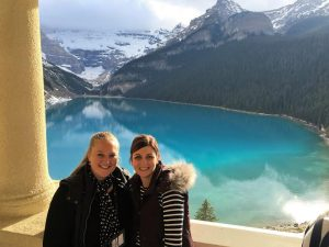 What a spectacular view! TravelManagers' personal travel managers Melinda Rowe (left) and Trina Rynehart most favourite view taken at Fairmont Chateau Lake Louise