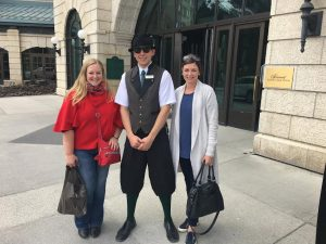 TravelManagers' personal travel managers Melinda Rowe (left) and Trina Rynehart make friends with the bellman of Fairmont Chateau Lake Louise