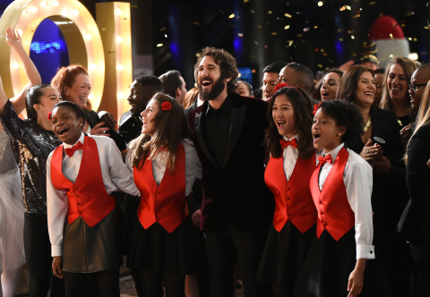 "Multi-platinum recording artist Josh Groban spreads holiday joy during a music video shoot at Grand Hyatt New York as part of the hotel brand's ""Go Grand for the Holidays"" campaign on Monday, Dec. 5, 2016, in New York. In the spirit of holiday giving, Hyatt donated to Groban's Find Your Light Foundation, which supports arts education. (Photo by Evan Agostini/Invision for Grand Hyatt/AP Images)"