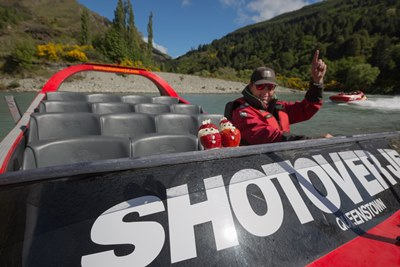 Keen jet boaters Kris and Carol Kringle take a spin on Shotover Jet's Bi...