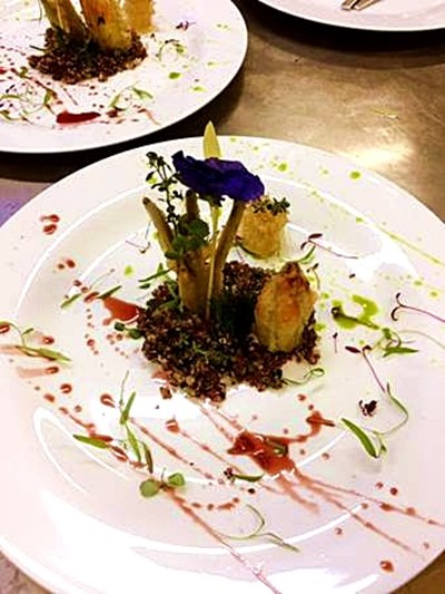 quinoa-couscous-goat-cheese-filled-zucchini-flowers-baby-fennel-tempura-pomegranate-reduction-and-coriander-oil